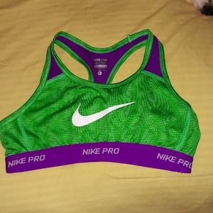 Nike Pro Sports Bra Dri-Fit Green/Purple Large